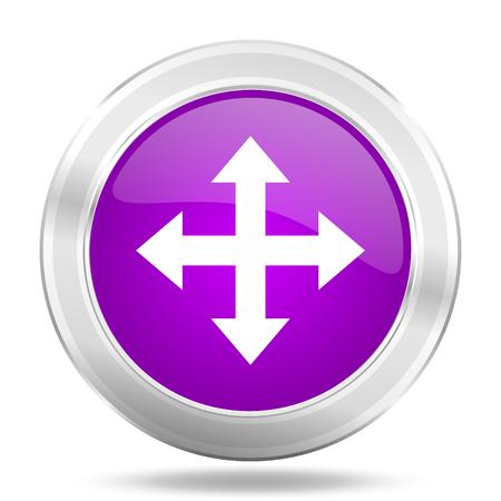 sterring: arrow round glossy pink silver metallic icon, modern design web element