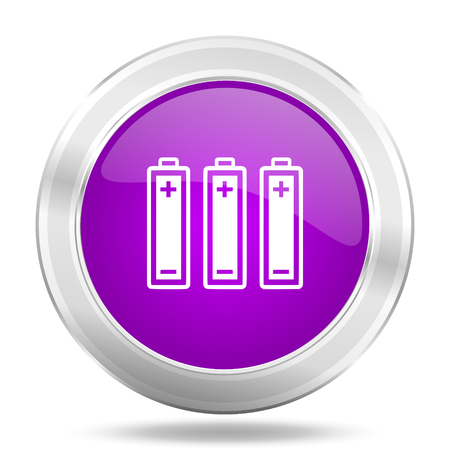 accuse: battery round glossy pink silver metallic icon, modern design web element