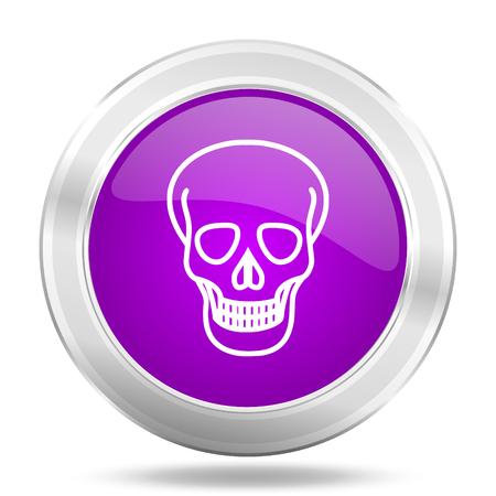 pirating: skull round glossy pink silver metallic icon, modern design web element