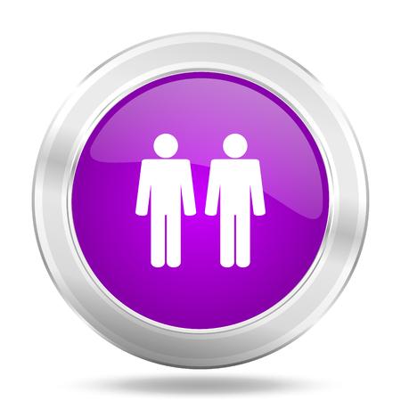 chrome man: couple round glossy pink silver metallic icon, modern design web element Stock Photo