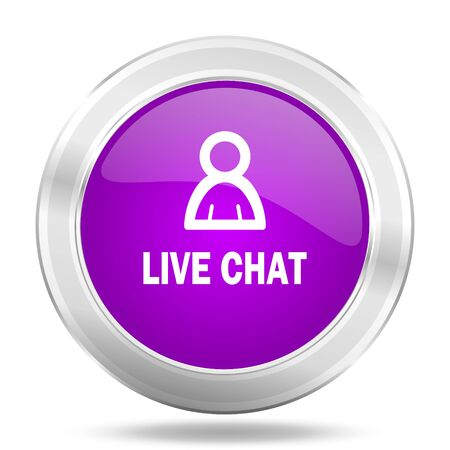 people discuss: live chat round glossy pink silver metallic icon, modern design web element Stock Photo