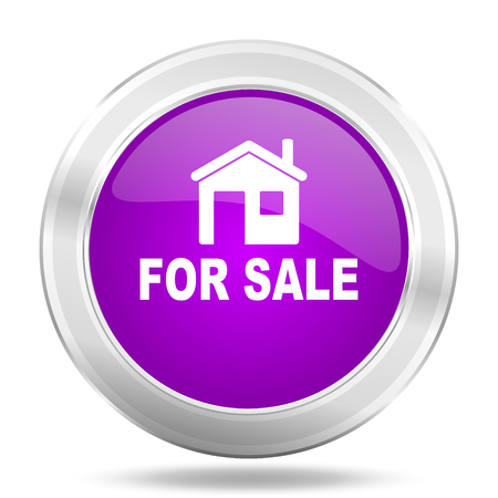 violet residential: for sale round glossy pink silver metallic icon, modern design web element