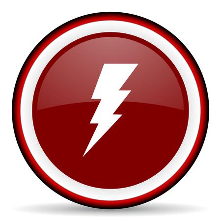 high voltage current: bolt round glossy icon, modern design web element Stock Photo