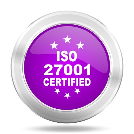 standard steel: iso 27001 round glossy pink silver metallic icon, modern design web element