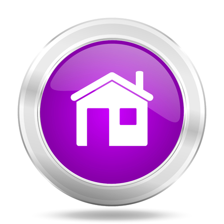 violet residential: house round glossy pink silver metallic icon, modern design web element Stock Photo