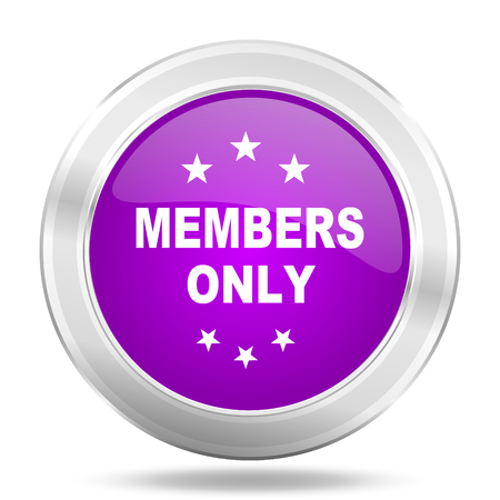 members only: members only round glossy pink silver metallic icon, modern design web element Stock Photo