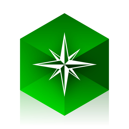 geodesy: compass cube icon, green modern design web element Stock Photo