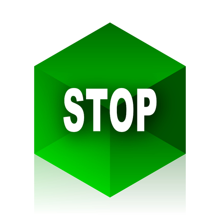 proscribed: stop cube icon, green modern design web element