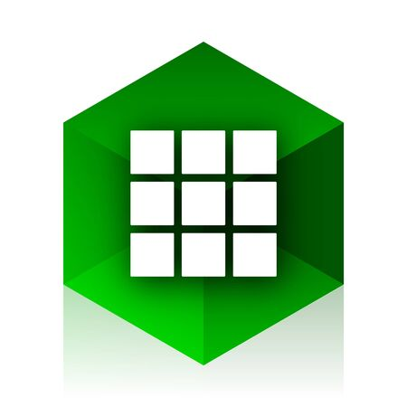 thumbnails: thumbnails grid cube icon, green modern design web element