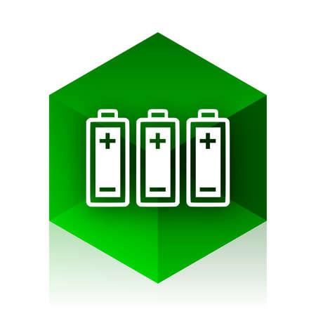 original ecological: battery cube icon, green modern design web element