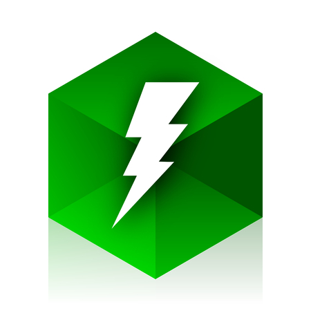 amperage: bolt cube icon, green modern design web element