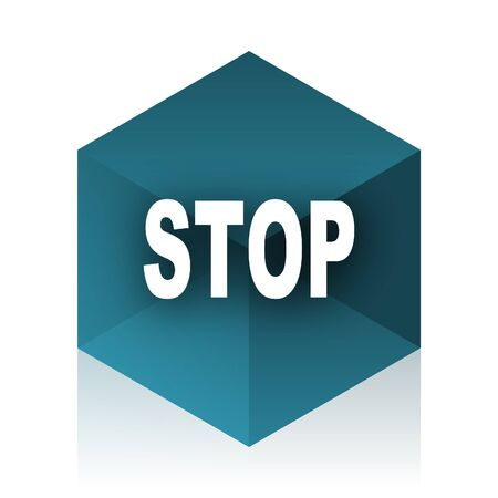 proscribed: stop blue cube icon, modern design web element Stock Photo