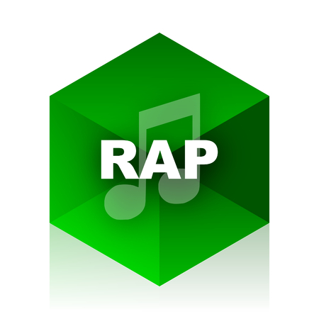 rap music: rap music cube icon, green modern design web element