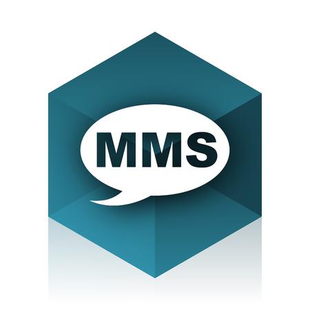 mms: mms blue cube icon, modern design web element Stock Photo