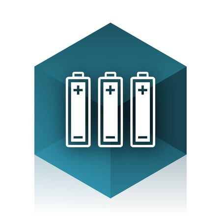 original ecological: battery blue cube icon, modern design web element Stock Photo