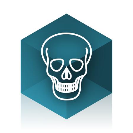 pirating: skull blue cube icon, modern design web element