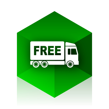 délivrance: free delivery cube icon, green modern design web element