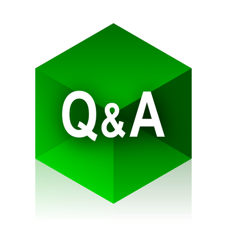 question and answer: question answer cube icon, green modern design web element Stock Photo