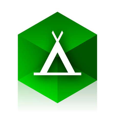 3d bungalow: camp cube icon, green modern design web element