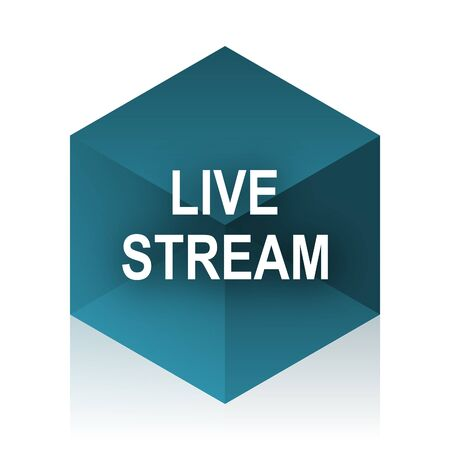 live stream: live stream blue cube icon, modern design web element