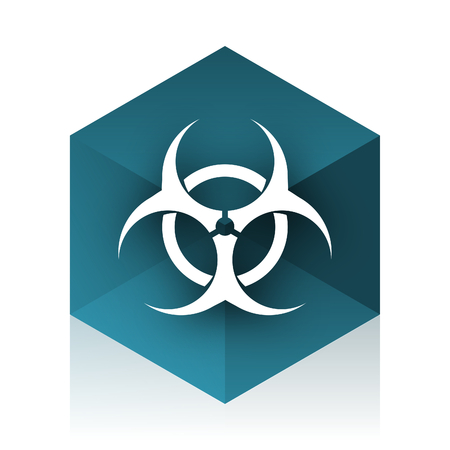 bacterioa: biohazard blue cube icon, modern design web element