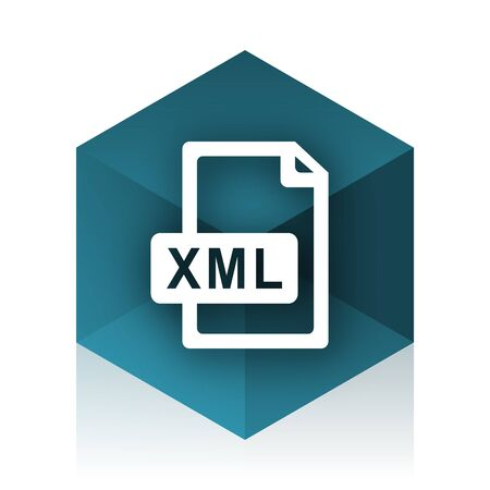 xml: xml file blue cube icon, modern design web element