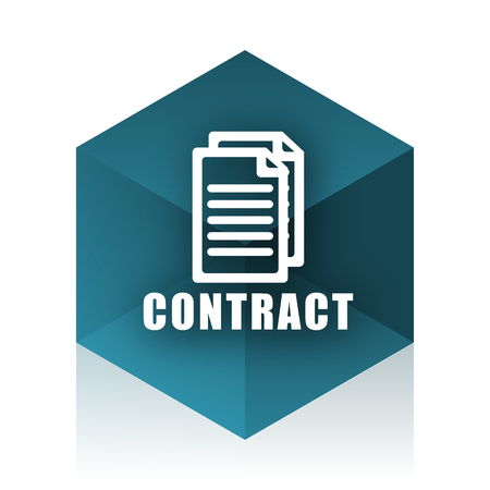 icom: contract blue cube icon, modern design web element Stock Photo