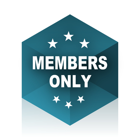 members only: members only blue cube icon, modern design web element
