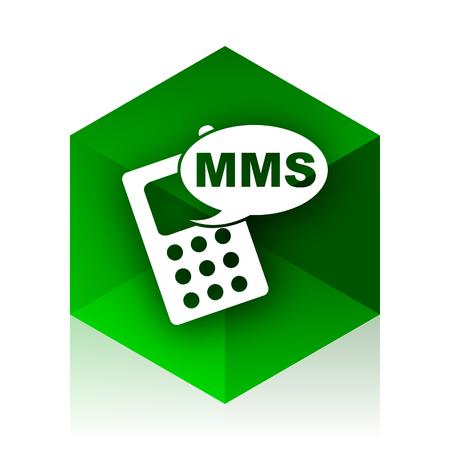 mms: mms cube icon, green modern design web element
