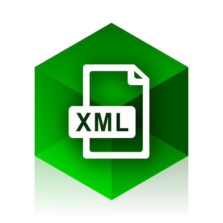 xml: xml file cube icon, green modern design web element