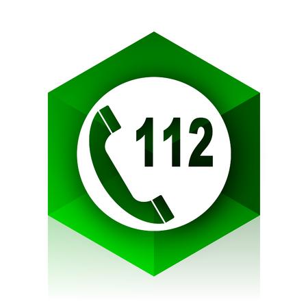emergency call: emergency call cube icon, green modern design web element