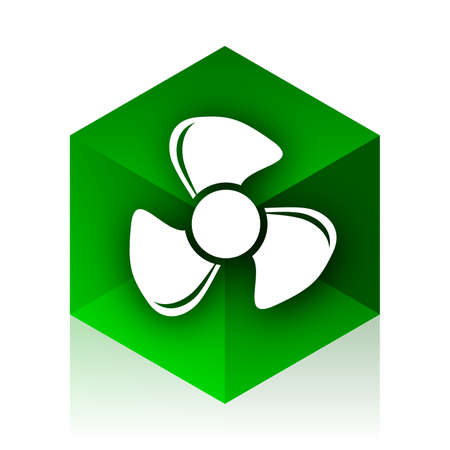 airflow: fan cube icon, green modern design web element
