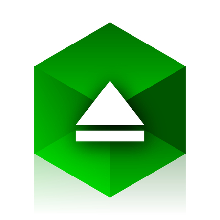 eject icon: eject cube icon, green modern design web element Stock Photo