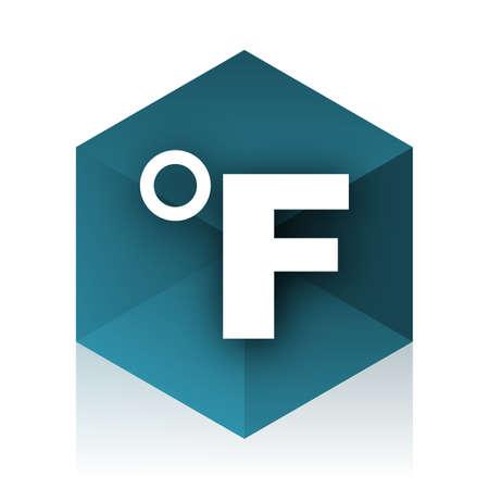 celcius: fahrenheit blue cube icon, modern design web element