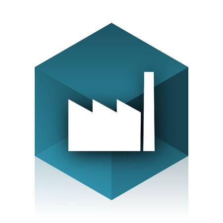 industrialist: factory blue cube icon, modern design web element