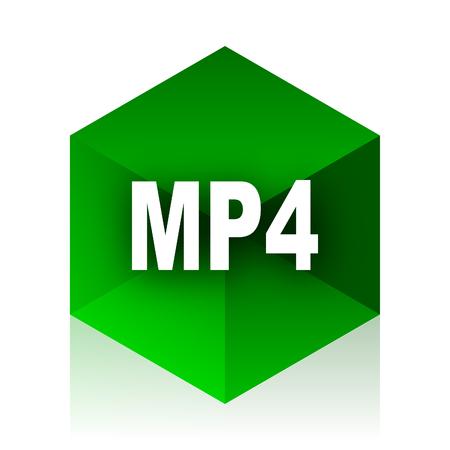 mp4: mp4 cube icon, green modern design web element