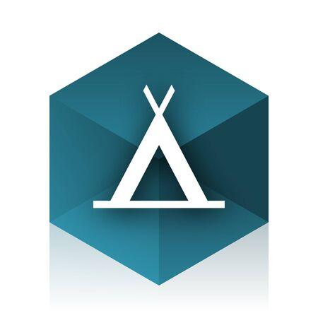 3d bungalow: camp blue cube icon, modern design web element