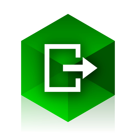 way out: exit cube icon, green modern design web element