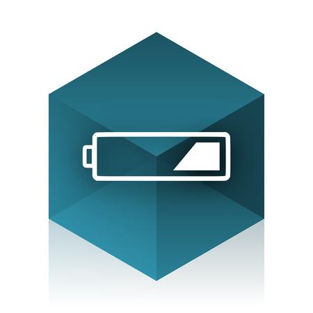 accuse: battery blue cube icon, modern design web element Stock Photo