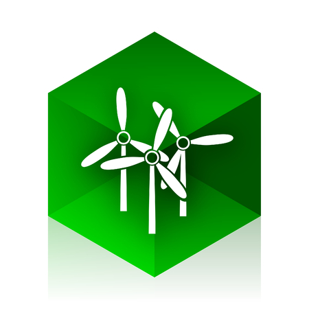 original ecological: windmill cube icon, green modern design web element