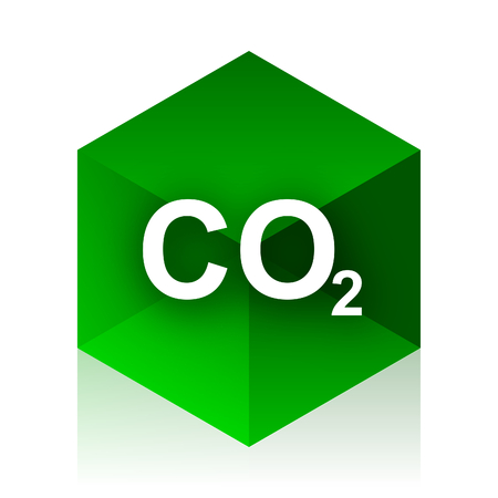 carbon dioxide: carbon dioxide cube icon, green modern design web element