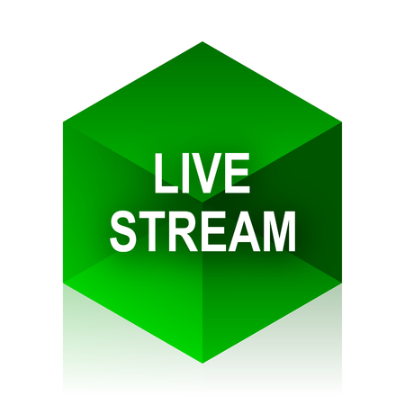 live stream: live stream cube icon, green modern design web element