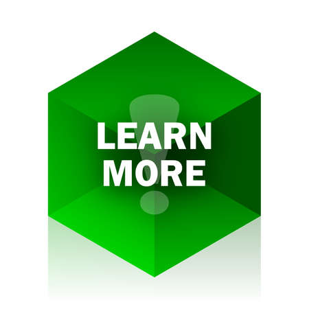 more information: learn more cube icon, green modern design web element