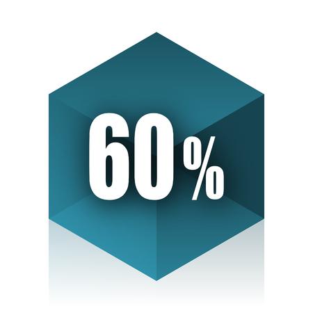 decreasing: 60 percent blue cube icon, modern design web element