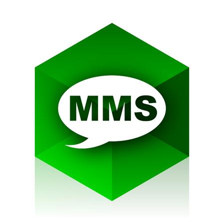 mms icon: mms cube icon, green modern design web element