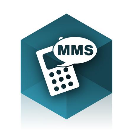mms icon: mms blue cube icon, modern design web element Stock Photo