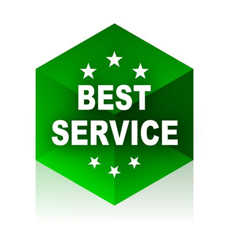 best service: best service cube icon, green modern design web element