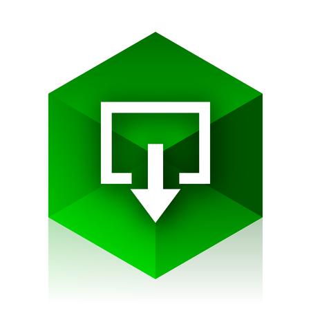 arrow emergency exit: exit cube icon, green modern design web element