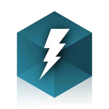 high voltage current: bolt blue cube icon, modern design web element