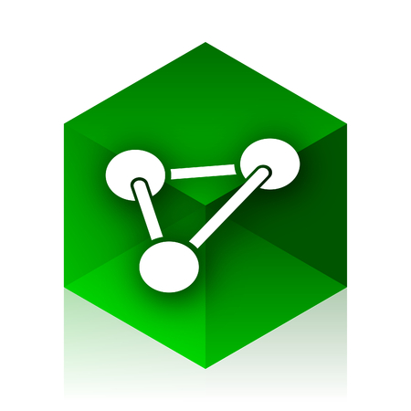 green chemistry: chemistry cube icon, green modern design web element